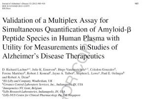 2012 - Lachno - JAD - Multiplex Plasma Assay Validation